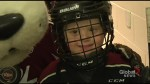 Jake Mather skates with the Peterborough Petes on Family Day