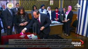 Egypt's Abdel Fattah al-Sisi casts vote in referendum to extend his presidential term