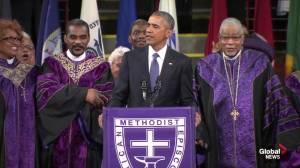 President Obama breaks into 'Amazing Grace' during Charleston eulogy