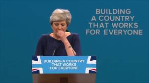 British PM Theresa May delivers speech that turns into a nightmare (01:08)