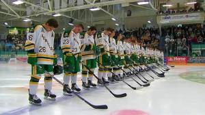 Humboldt Broncos opening ceremony before season opening game