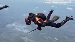 Harry Potter enthusiasts play Quidditch while skydiving