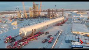 Massive splitter reaches final destination in Fort Saskatchewan