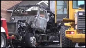 Trucker escapes cab fire in Fenelon Falls