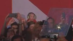Federal Election 2015: Baby with earmuffs at Liberal Party headquarters steals attention