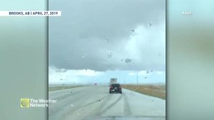Hail hammers drivers in Brooks, Alta.