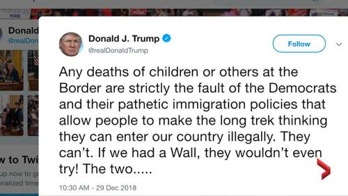 donald trump blames deaths of migrant children at us border on democrats watch news videos online
