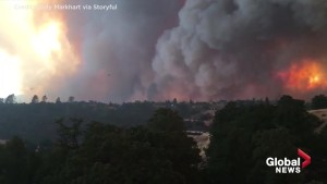 Timelapse shows Carr Fire burning into the night in California