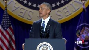 Obama says Americans should reject fear mongering tactics from nationalist aggression