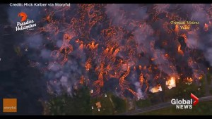 Stunning aerial footage captures lava from Hawaii's Kilauea Volcano ripping through lower Leilani