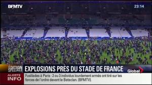 Spectators and players remain inside Stade de France for protection following deadly attacks