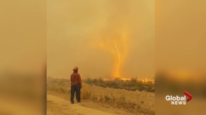 B.C. wildfire crews watch in disbelief as fire tornado swallows hose near Vanderhoof