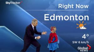 SpiderMable helps Mike Sobel with the forecast during the Morning News