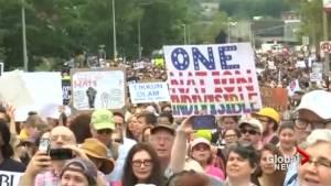 Anti-Nazi counter protesters gathering in Boston