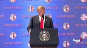 Trump-Kim summit: Trump credits hard 'rhetoric' in finding deal