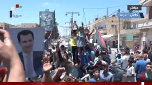 Rebels surrender as the Syrian army advances