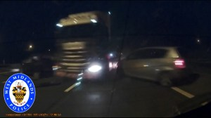 Dramatic footage of crash on U.K. highway shows moment truck crashes into cars