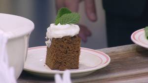 Outlander Kitchen: Ulysses's Syllabub served with gingerbread cake.