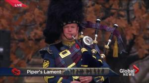 Stirring bagpipes as Canada remembers those who served and continue to serve this country