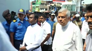 Sri Lankan prime minister visits damaged church after deadly bomb