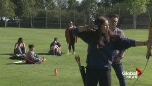 Musqueam youth connecting to archery