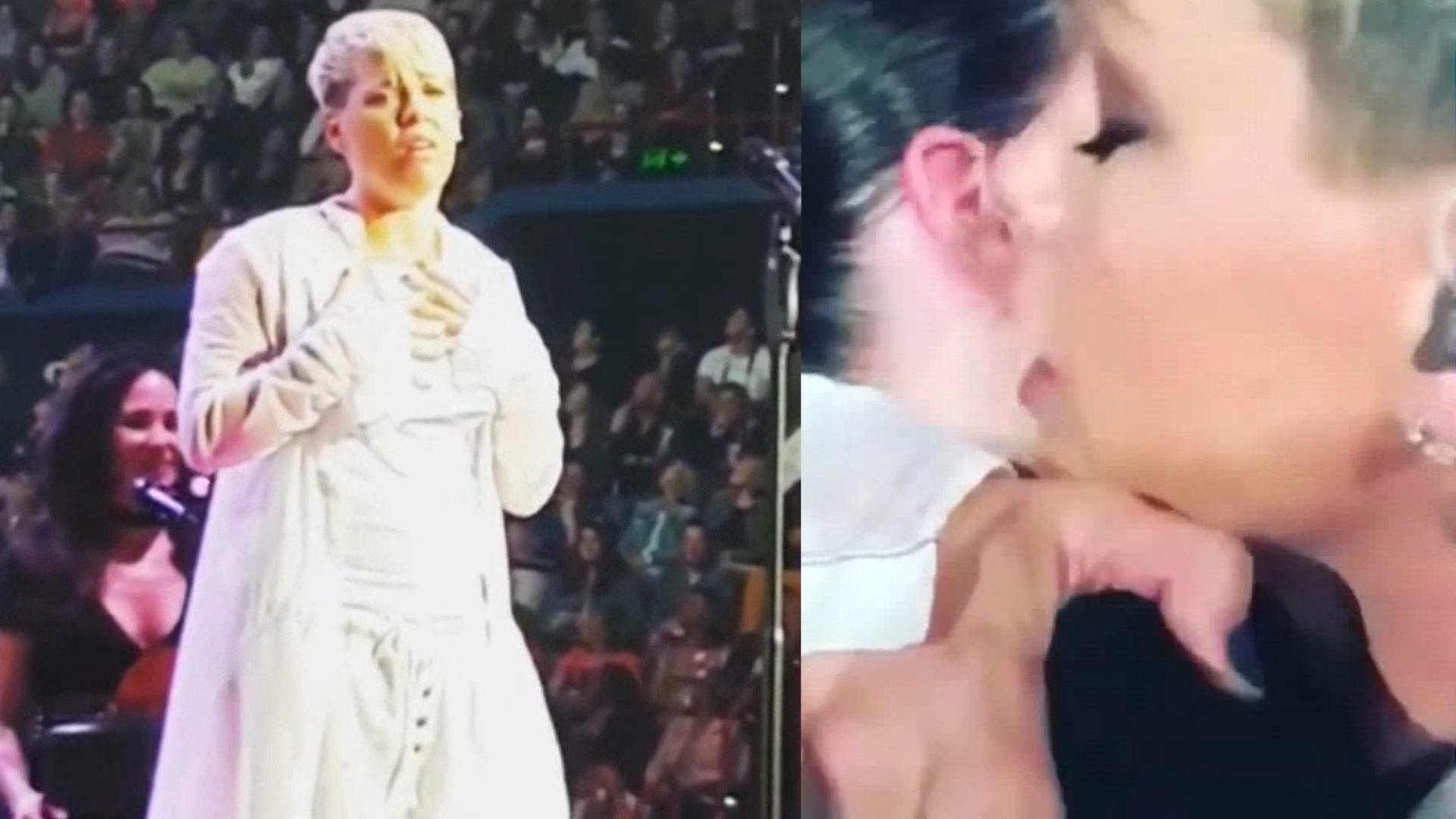 Pink stops her concert to hug a fan for a heartwarming reason