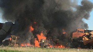 Train collision erupts into massive inferno in Texas panhandle