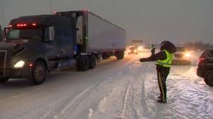 Highway 1 near Canmore reopened after upwards of 40 vehicles go off the road