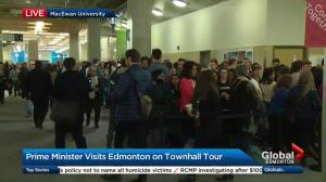 Edmontonians line up to attend town hall event with Justin Trudeau