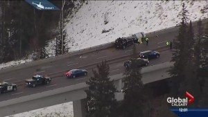 Police search for suspect in southwest Calgary hit and run collision