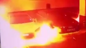 Surveillance footage captures Tesla bursting into flames