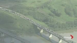 Raw Video: Yellowhead Trail closure causes traffic backups