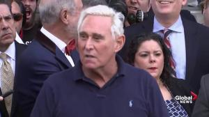 Crowd chants 'lock him up' as Roger Stone speaks outside courthouse