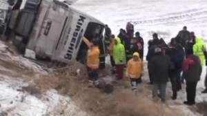 7 dead as bus slides off icy Turkey highway (01:08)