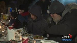 Edmonton's 'freezing father' breaks bread with health-care workers during frigid fundraiser