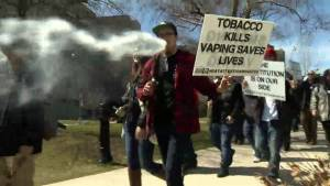 Hundreds of people protest possible e-cigarette restrictions (02:22)