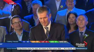 'What a great night!': PC Leader Brian Pallister greets supporters after landslide victory