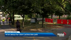 Bike path detour has Montreal cyclists seeing red