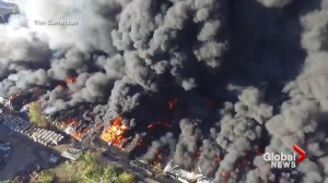 Fire rages at warehouse in West Virginia