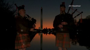 Bagpipers in Washington D.C. mark 100th anniversary of First World War at sunrise