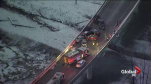 Icy roads blamed for Port Mann pile-up during Monday morning commute