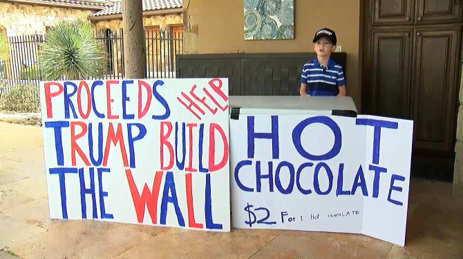 7-year-old faces intense backlash after raising $2K for Donald Trump border wall by selling hot chocolate