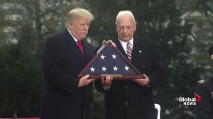 President Trump delivers Veterans Day speech at cemetery outside Paris