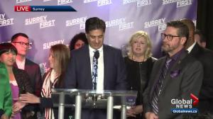 Surrey First mayoral candidate Tom Gill thanks voters