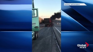 Tractor trailer on fire on Highway 102