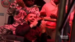 Drake arrives at Jurassic Park as Raptors face Golden State Warriors in Oakland
