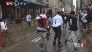Street hockey takes over King Street to protest pilot project