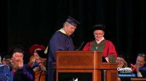 "Bret ""The Hitman"" Hart gets honorary degree at Mount Royal University (01:02)"