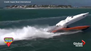 Powerboat sent flying through the air following crash at Key West race