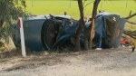 Aftermath of  car crash which killed Canadian tourists in Australia